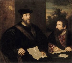 Tiziano Vecellio (Titian) - French Cardinal Georges d'Armagnac and his secretary G. Philandrier