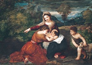 Tiziano Vecellio (Titian) - Virgin and Child with Saint and Saint John