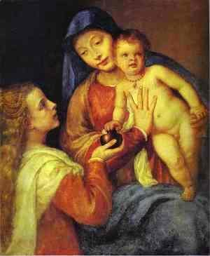 Tiziano Vecellio (Titian) - Madonna and Child with Mary Magdalene