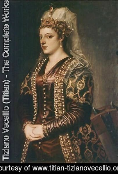 Portrait of Caterina Cornaro (1454-1510) wife of King James II of Cyprus, dressed as St. Catherine
