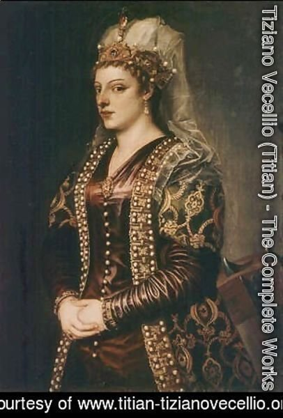 Tiziano Vecellio (Titian) - Portrait of Caterina Cornaro (1454-1510) wife of King James II of Cyprus, dressed as St. Catherine