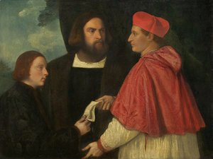 Tiziano Vecellio (Titian) - Girolamo and Cardinal Marco Corner Investing Marco, Abbot of Carrara, with His Benefice